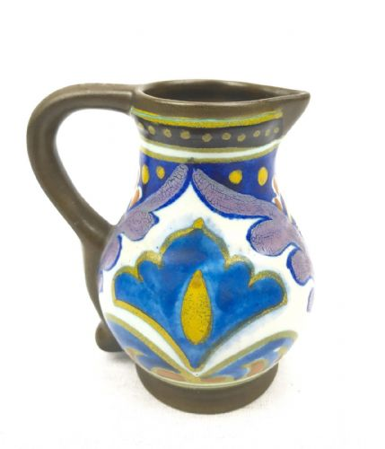 Gouda Pottery Vase / Jug Art Deco 1924 / Dutch / Blue / Yellow / Brown